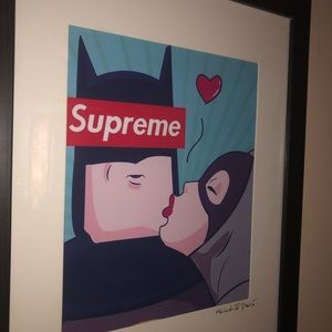 Wall Art - Supreme batman x cat woman framed art